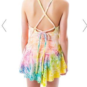 Unif velvet tie dye rink dress